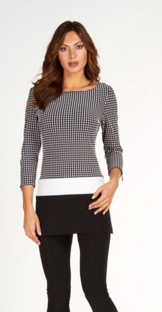 Frank Lyman 63212 Black & White Tunic Top