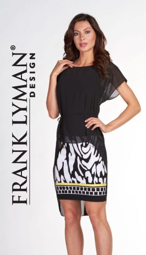 Frank Lyman 66178 Black White Yellow Dress