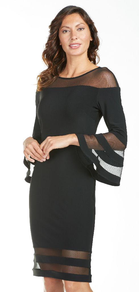 Frank Lyman 185235 Black Mesh Panels Dress