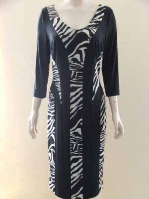 After Six 8464 Black Animal Print Panels Dress
