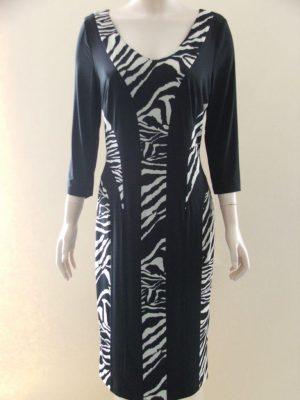 After Six 8464 Black Animal Print Panels Dress