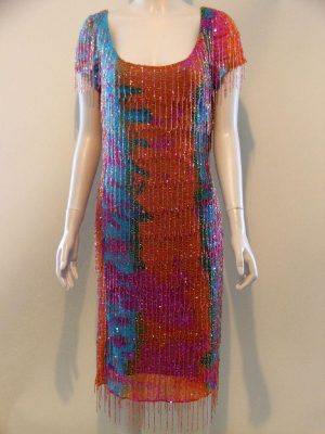 After Six 7642 Orange Blue Pink Fully Beaded 1920 style dress