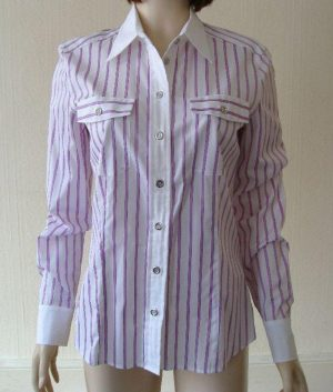 Basler 413114 White & Lilac Striped Blouse
