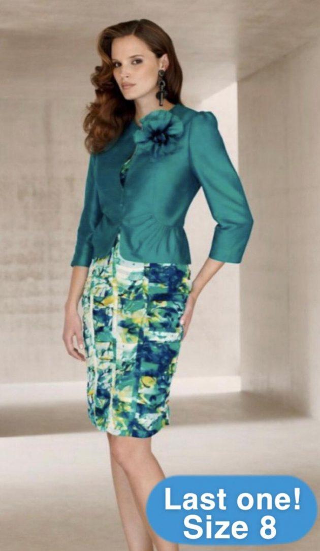 Condici 11206 Blue Aurora Print Dress & Emerald Jacket