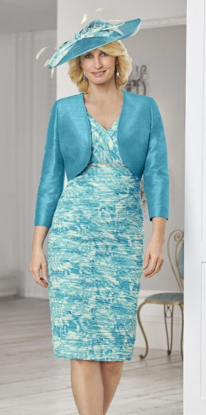 Condici 11372 Evie Teal Luxe Dress and Jacket