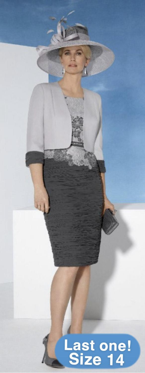 Condici 70959 Slate Grey and Cream Dress and Jacket