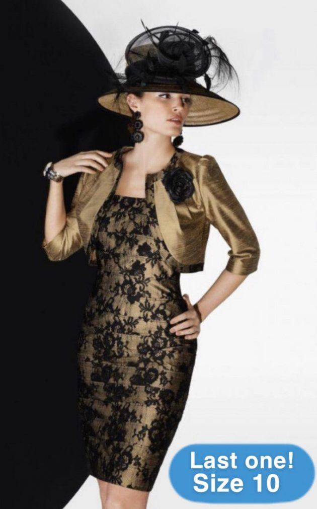 Condici 90242 Gold Ash & Black Lace Dress & Bolero