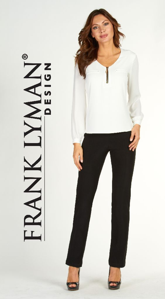 Frank Lyman 017 Black Front Stitching Trousers