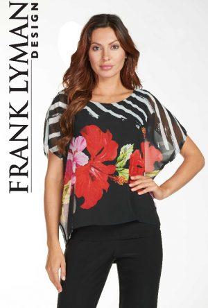 Frank Lyman 171369 Black Floral Voile Top