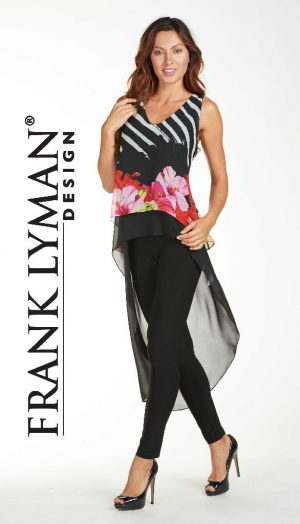 Frank Lyman 171370 Black Floral Top With Long Voile Back