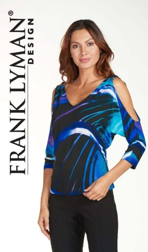 Frank Lyman 171426 Blues Open Shoulder Top
