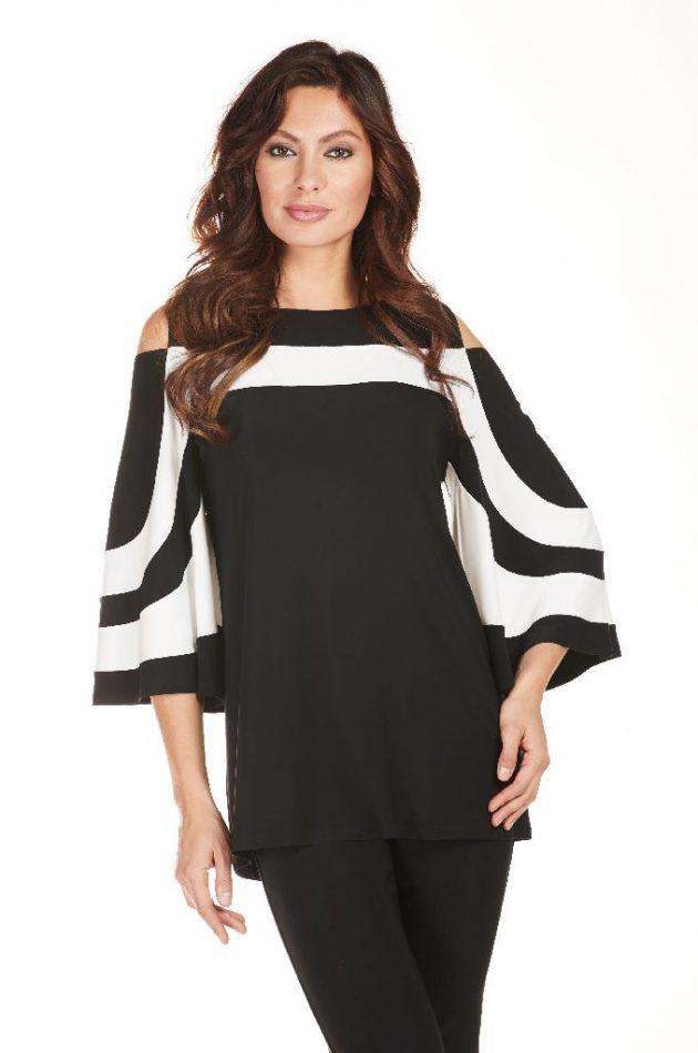 Frank Lyman 172010 Black, White Wide Sleeves Top