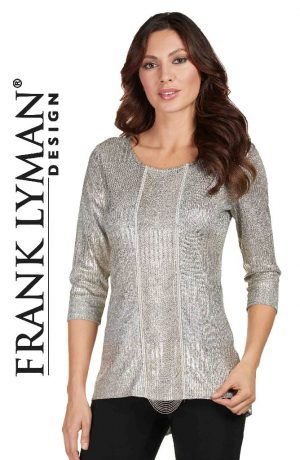 Frank Lyman 173181 Silver Grey Beaded Front Top