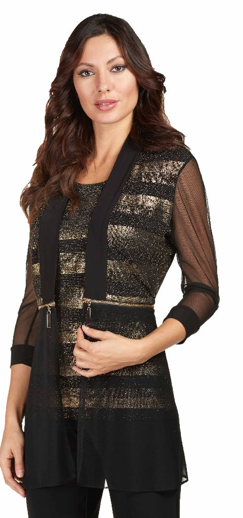 Frank Lyman 173282 Black Gold Metallic Jacket