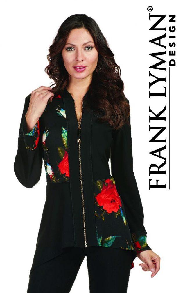 Frank Lyman 173323 Black & Floral Zip Jacket