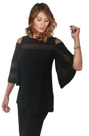 Frank Lyman 175089 Black, Mesh, Cold Shoulder Top