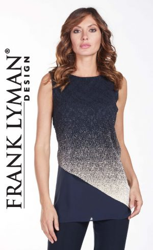 Frank Lyman 175240 Navy and Gold Top