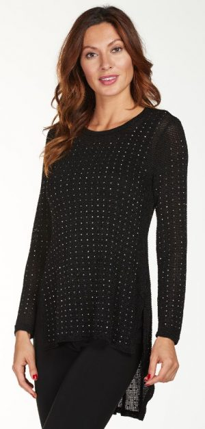Frank Lyman 176102U Black Diamante Top