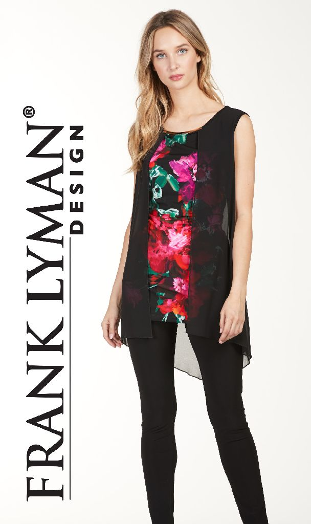Frank Lyman 176230 Black Floral Front Top