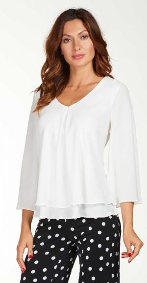 Frank Lyman 1763351 Off White Split 3/4 Sleeve Top