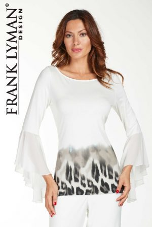 Frank Lyman 176416 White Long Sleeved Leopard Top