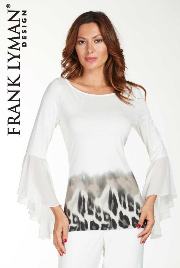 Frank Lyman 176416 White Long Sleeved Leopard Top
