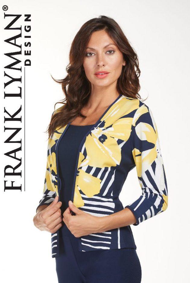 Frank Lyman 181306 Yellow, Navy 1 Button Jacket