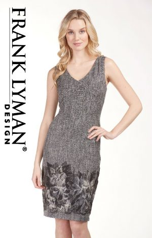 Frank Lyman 183361 Grey, Black Floral Dress