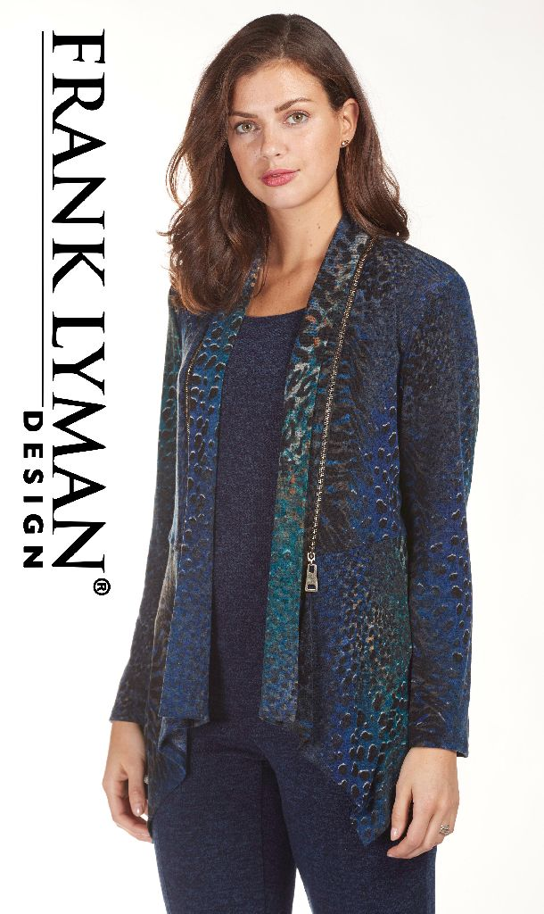 Frank Lyman 183461 Navy, Teal Animal Print Jacket