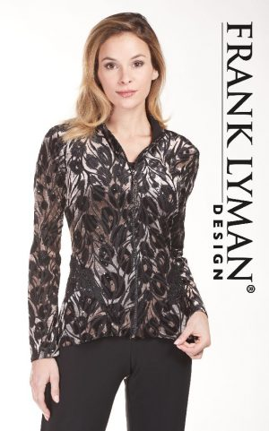 Frank Lyman 183838 Brown & Black Velour Jacket