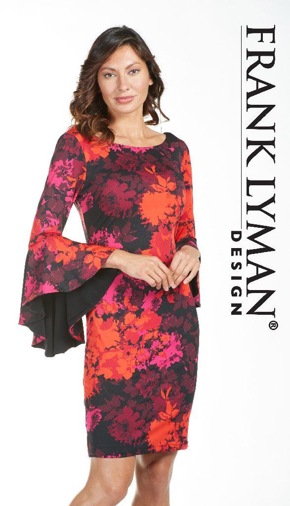 Frank Lyman 185364 Red Multi Coloured Dress