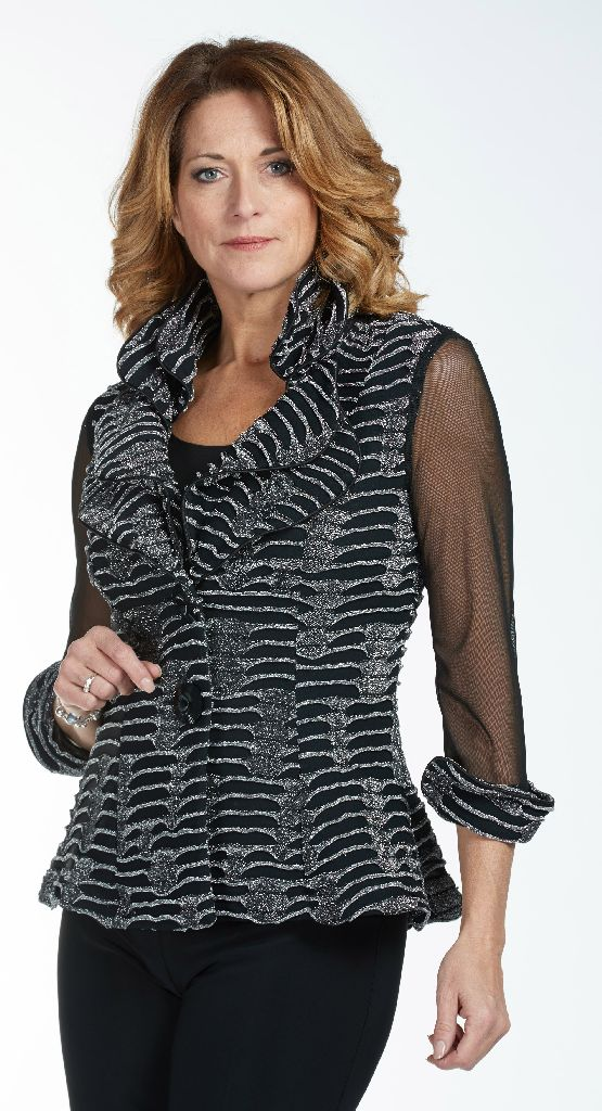 Frank Lyman 185379 Silver & Black Evening Jacket