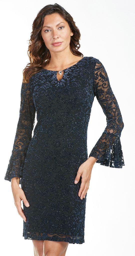 Frank Lyman 185484 Navy, Velour Silver Dress