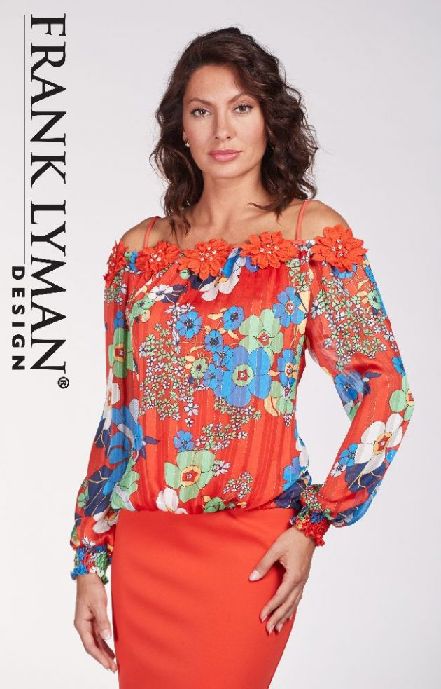 Frank Lyman 186300 Red Bardot Floral Top