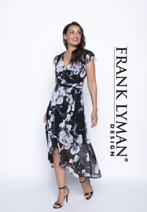 Frank Lyman 186518 Black, Blue Floral Long Dress