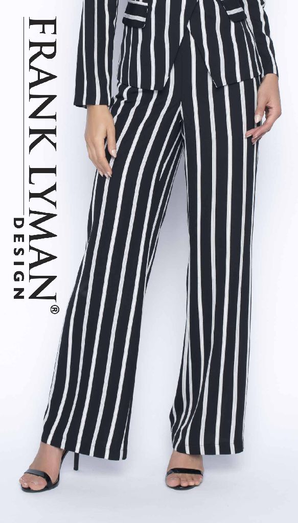 Frank Lyman 186795 Black and White Stripped Trousers