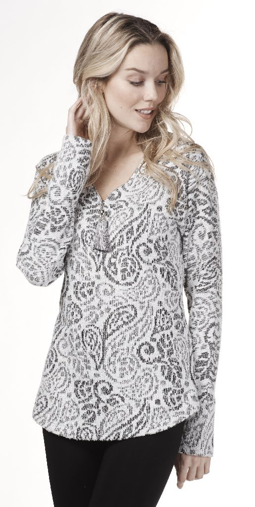 Frank Lyman 183694 Light and Dark Grey, Silver Sweater
