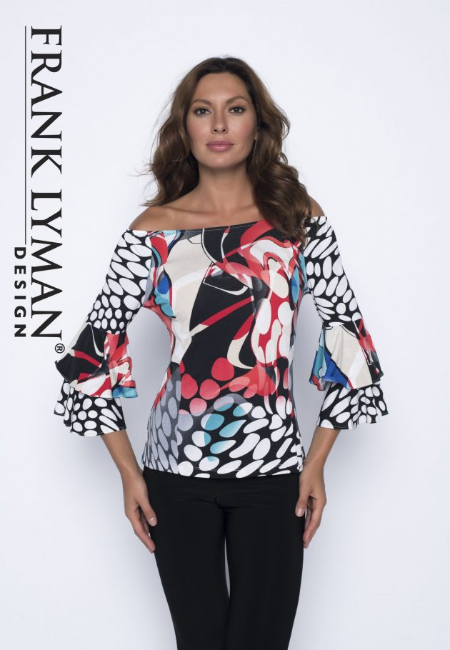 Frank Lyman 191307 Multi Coloured Frills Sleeves Top