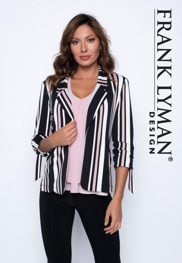 Frank Lyman 191322 Pink, White and Black stripped Jacket