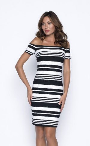 Frank Lyman 191325 Black, White Striped Bardot Dress