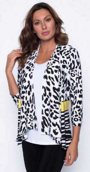 Frank Lyman 191469 Black, White Leopard Print Jacket