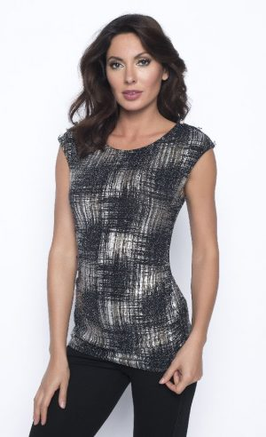 Frank Lyman 193460 Black Metallic Sleeveless Top