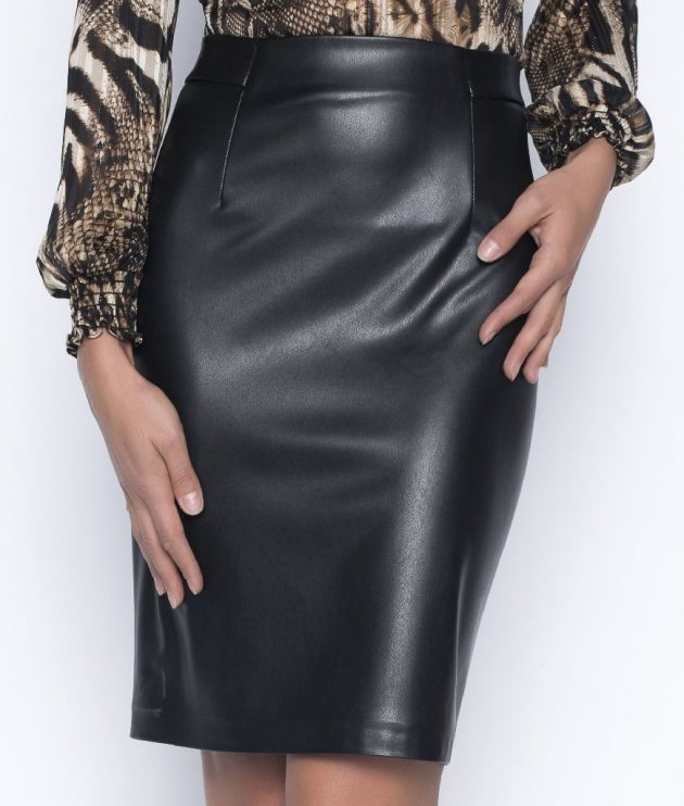 Frank Lyman 193587 Black Leather Skirt