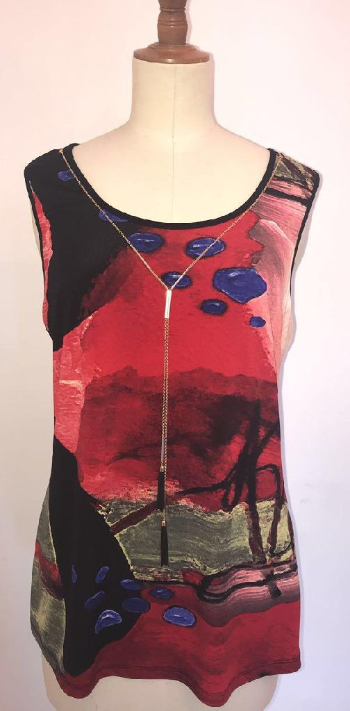 Frank Lyman 193788 Red and Black Top
