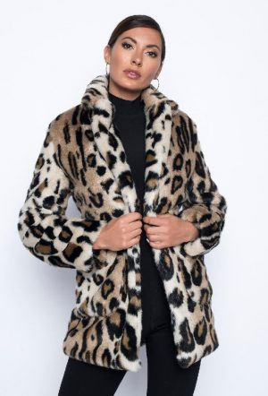 Frank Lyman 194128U Leopard Fake Fur Winter Jacket