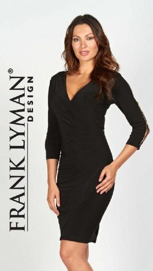 Frank Lyman 55023 Navy Dress, Zips On Sleeves