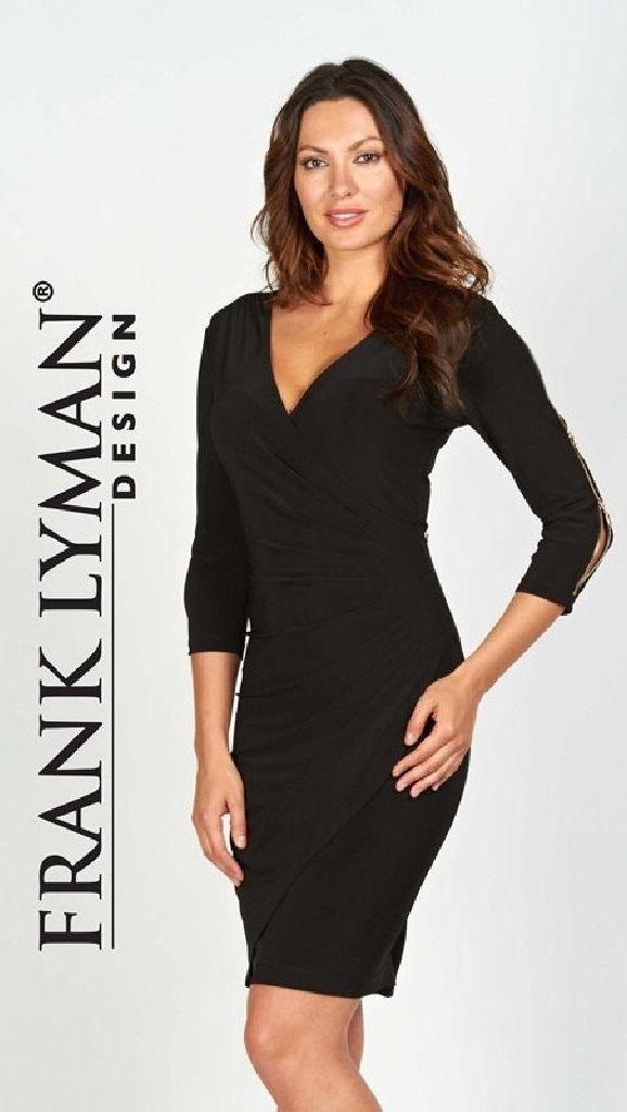 Frank Lyman 55023 Navy Dress, Zips On Sleeves