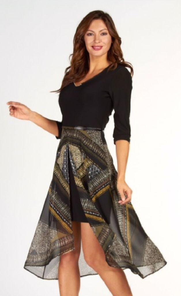 Frank Lyman 63139 Short Skirt, Voile Longer Layer Dress