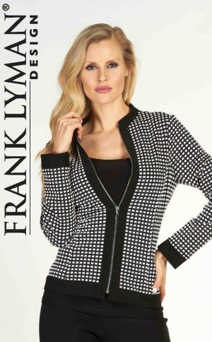Frank Lyman 63213 Black White Squares Zip-Up Jacket