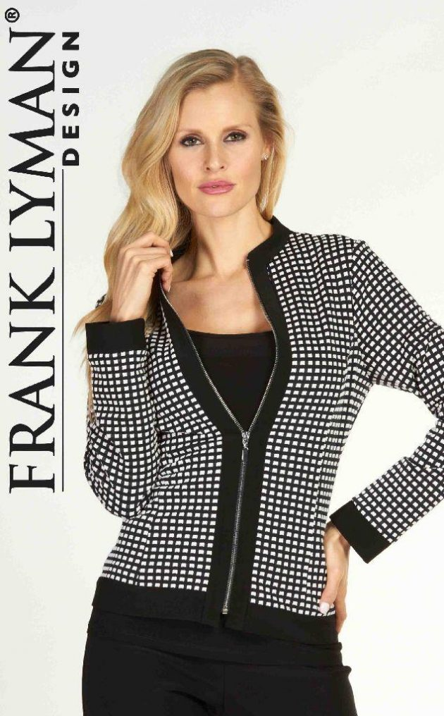 Frank Lyman 63213 Black White Squares Zip-Up Jacket
